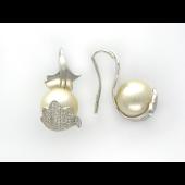 Серьги с бриллиантами и жемчугом, белое золото 750 проба