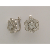 Серьги Цветы с бриллиантами, белое золото 750 проба