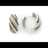 Серьги Конго полосатые с черным и белыми бриллиантами, белое золото 750 проба