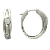 Серьги кольца с бриллиантом, белое золото 750 проба