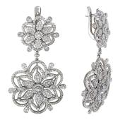 Серьги Снежинки с бриллиантами, белое золото 750 проба