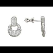 Серьги-пусеты с бриллиантами, белое золото 750 проба