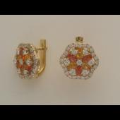 Серьги с бриллиантами, изумрудами, рубинами и сапфирами, желтое и белое золото 750 проба