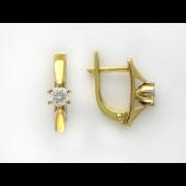 Серьги с круглым бриллиантом, желтое и белое золото 750 проба
