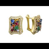 Серьги с бриллиантами, изумрудами, сапфирами и рубинами, желтое и белое золото 750 пробы