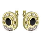 Серьги круглые с ониксом и бриллиантами, желтое и белое золото 750 проба