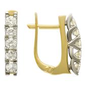 Серьги Дорожки с бриллиантами, желтое и белое золото