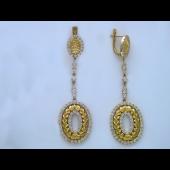 Серьги длинные с бриллиантами, желтое и белое золото