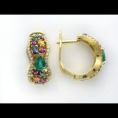 Серьги с бриллиантами, сапфирами, изумрудами и рубинами, желтое и белое золото