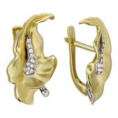 Серьги Калла с бриллиантами, комбинированное золото 750 проба