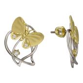 Серьги Бабочки на Листочках с бриллиантами, белое и желтое золото 750 проба