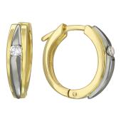Серьги-конго с бриллиантами, комбинированное золото 750 проба