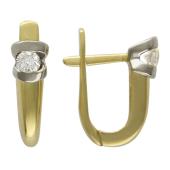 Серьги классические с бриллиантами, желтое и белое золото 750 проба
