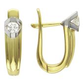 Серьги с бриллиантами, желтое и белое золото 750 проба