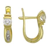 Серьги с бриллиантами, комбинированное золото 750 проба