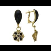 Серьги Лилия с чёрными бриллиантами и чёрной эмалью, желтое и белое золото 750 проба