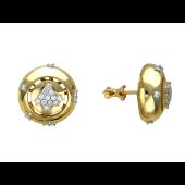 Серьги-пусеты с бриллиантами, комбинированное золото 750 проба