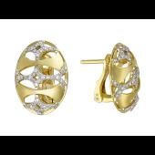 Серьги овальные с бриллиантами, желтое и белое золото