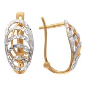 Серьги Окружности с родированием и алмазной гранью, красное золото