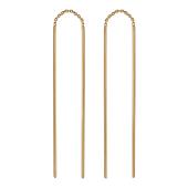 Серьги-висюльки, Два золотых стержня соединены цепью, красное золото, 585 проба