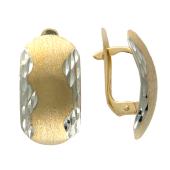 Серьги крупные с алмазной огранкой и матированием, красное золото