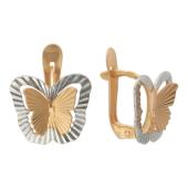 Серьги Бабочки с алмазной обработкой, красное золото