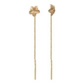 Серьги-продевки Цветы с алмазными гранями на цепочке, красное золото, 585 проба