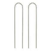 Серьги-висюльки, Два золотых стержня соединены цепью, белое золото, 585 проба