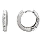 Серьги-кольца с алмазной гранью, белое золото 585 пробы 10 мм