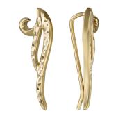 Серьги Каффы на все ухо с алмазной гранью, желтое золото