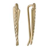 Серьги Каффы на все ухо с алмазной гранью, желтое золото 27мм