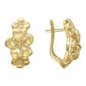 """Серьги """"Золотые Цветы"""", желтое золото 585 пробы"""