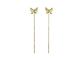 Серьги-продевки Бабочки с алмазными гранями на цепочке, желтое золото 585 проба