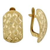 Серьги крупные с алмазной обработкой, желтое золото