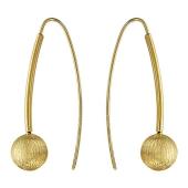 Серьги длинные с матированным шариком, желтое золото 585 проба