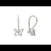 Серьги Бабочки с алмазными гранями из серебра 925 пробы