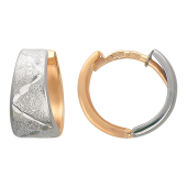 Серьги Конго, травление, алмазная грань зигзаг, комбинированное золото 585 пробы