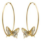Серьги Кольца конго диаметр 40мм ( 4 см) с тремя бабочками, желтое и белое золото