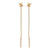 Серьги Звезда с алмазной огранкой, комбинированное золото