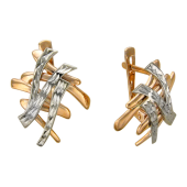Серьги Иероглиф с алмазной гранью, комбинированное золото 585 пробы