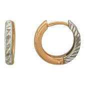 Серьги Кольца с алмазной гранью, комбинированное золото 585 пробы 10 мм