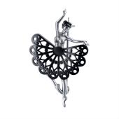Брошь Балерина из серебра 925 пробы с чернением