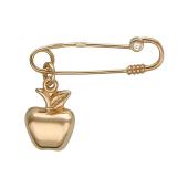 Брошь Булавка с яблокоми фианитом, красное золото 585 пробы