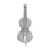 Брошь Скрипка с фианитами, белое золото 585 проба
