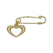 Брошь булавка Сердце с фианитом из желтого золота 585 пробы