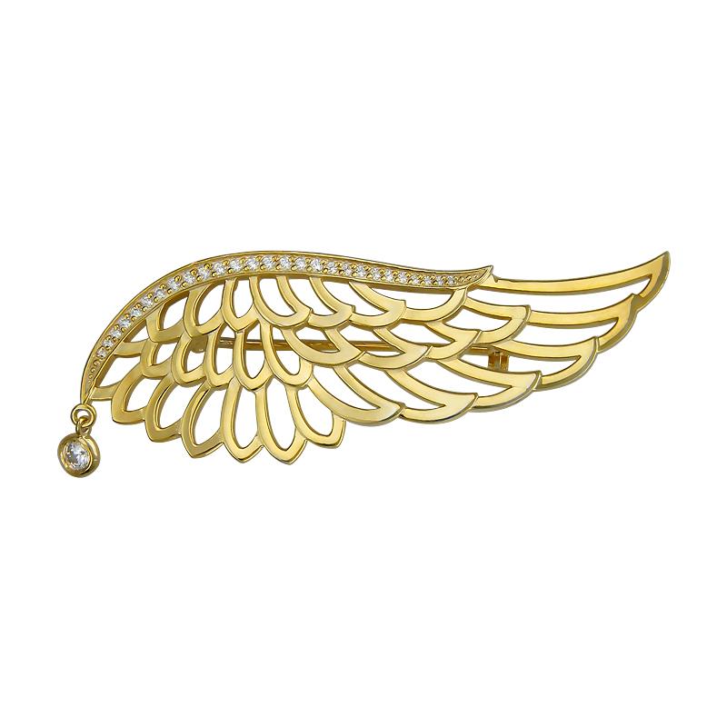 Брошь Крыло с фианитами из серебра 925 пробы с позолотой