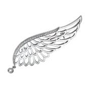 Брошь Крыло с фианитами из серебра 925 пробы