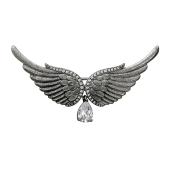 Брошь Крылья с фианитами из серебра 925 пробы