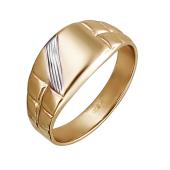 Кольцо мужское с полосками, красное золото