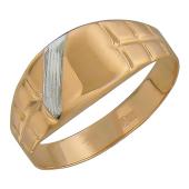 Мужское золотое кольцо с белой полосой и панцирной шинкой, красное золото 585 пробы